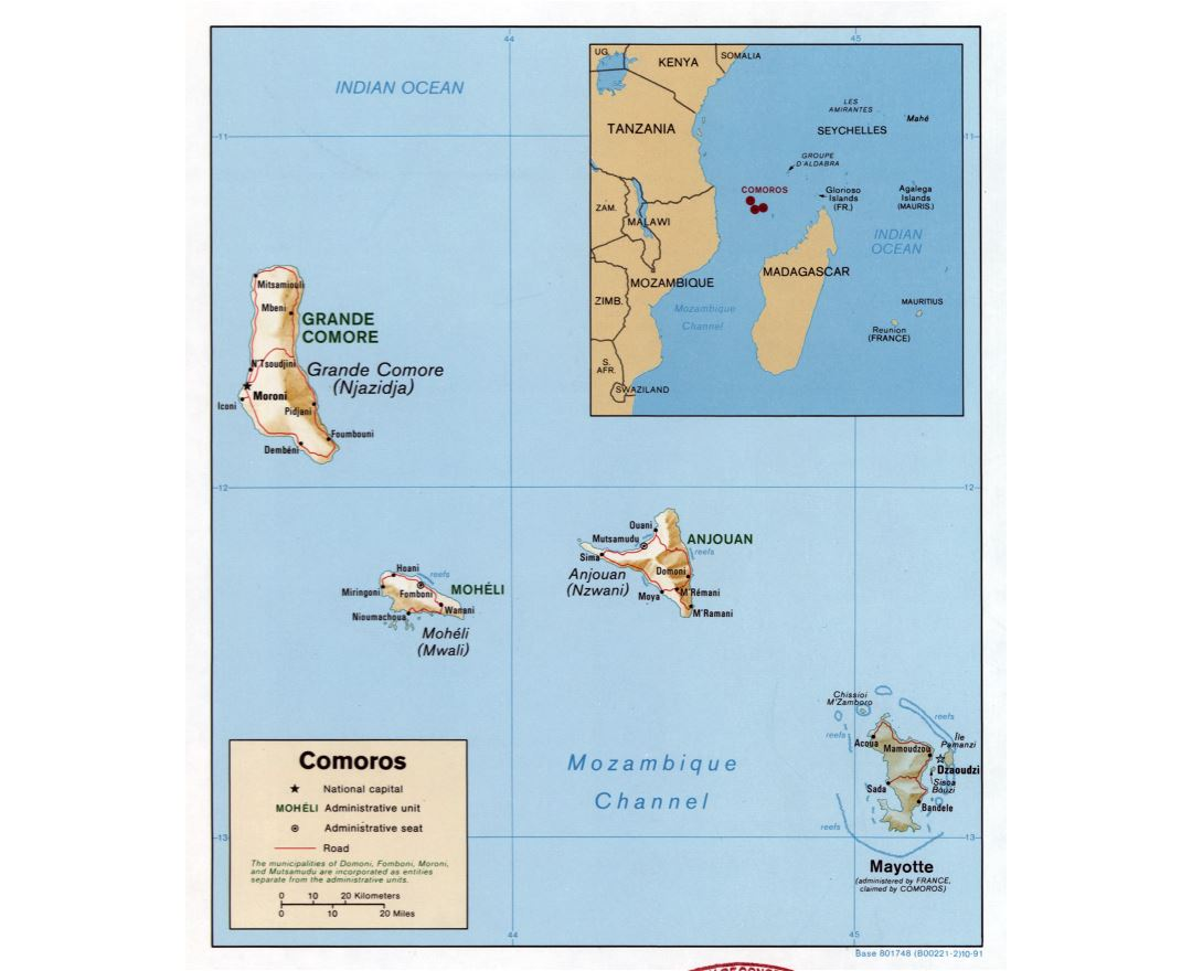 Large detailed political map of Comoros with relief, roads and cities - 1991