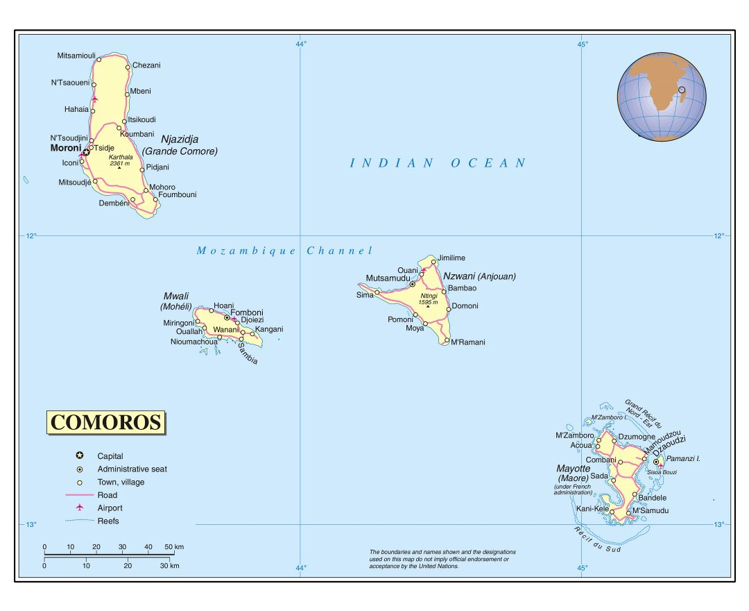 Large detailed political map of Comoros with roads, cities and airports
