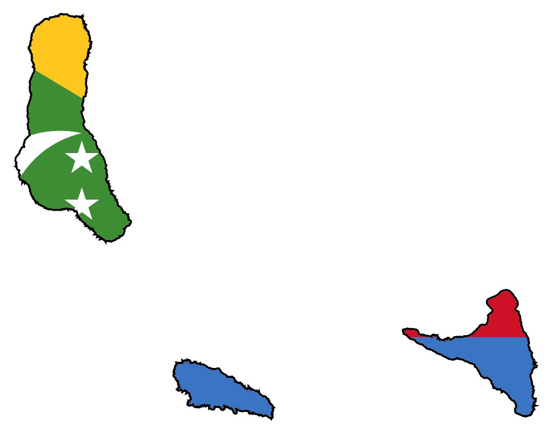 Large flag map of Comoros