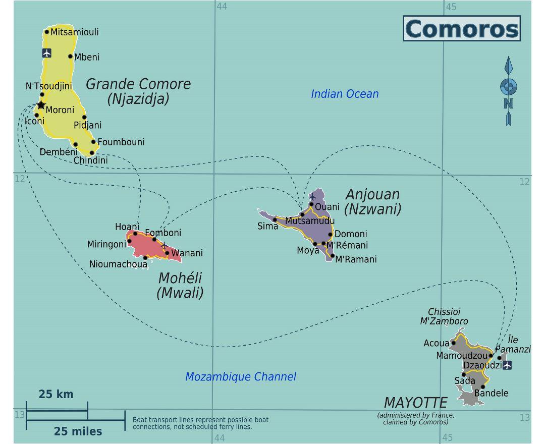Large regions map of Comoros Islands