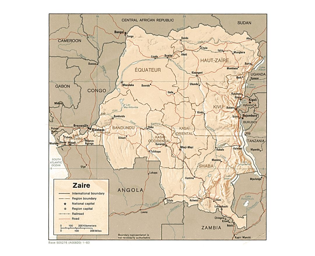 Detailed political and administrative map of Congo Democratic Republic with relief, roads, railroads and major cities - 1983