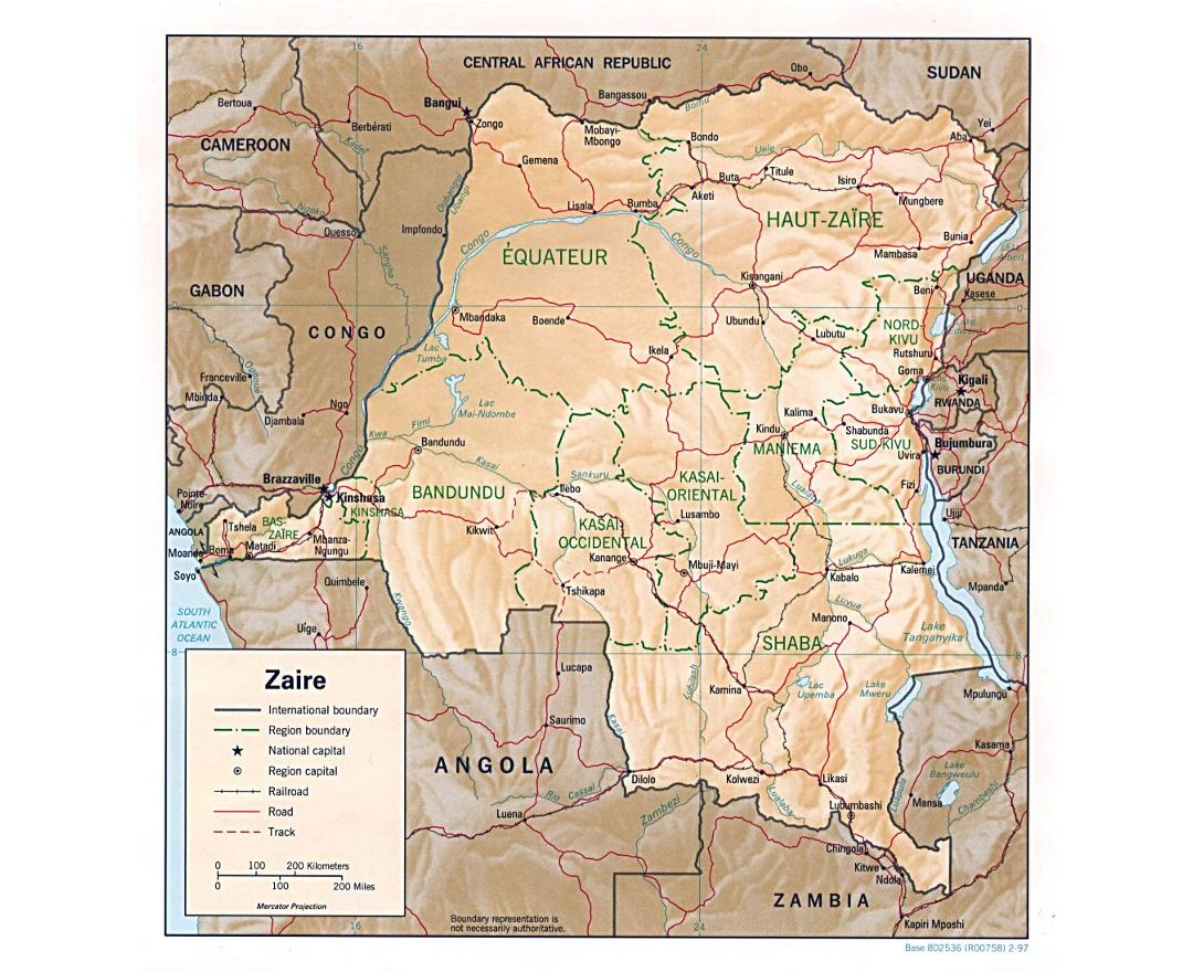 Detailed political and administrative map of Congo Democratic Republic with relief, roads, railroads and major cities - 1997
