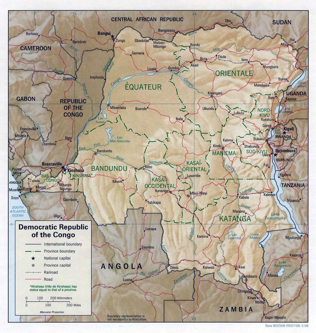 Detailed political and administrative map of Congo Democratic Republic with relief, roads, railroads and major cities - 1998