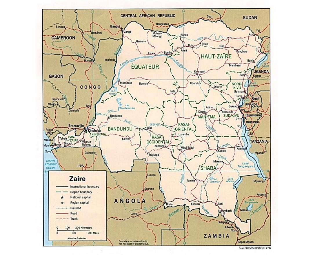 Detailed political and administrative map of Congo Democratic Republic with roads, railroads and major cities - 1997