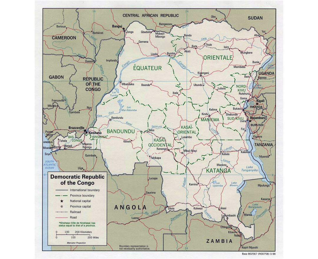 Detailed political and administrative map of Congo Democratic Republic with roads, railroads and major cities - 1998
