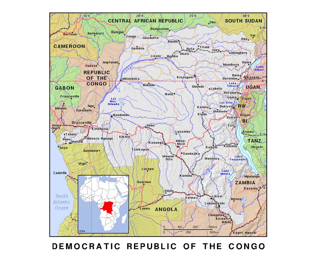 Detailed political map of Congo Democratic Republic with relief