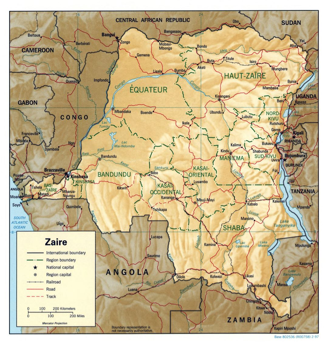Large detailed political and administrative map of Congo Democratic Republic with relief, roads, railroads and major cities - 1997
