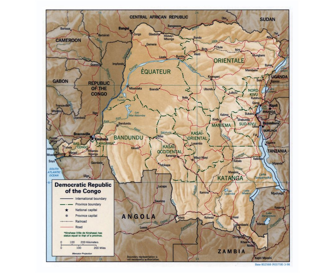 Large detailed political and administrative map of Congo Democratic Republic with relief, roads, railroads and major cities - 1998