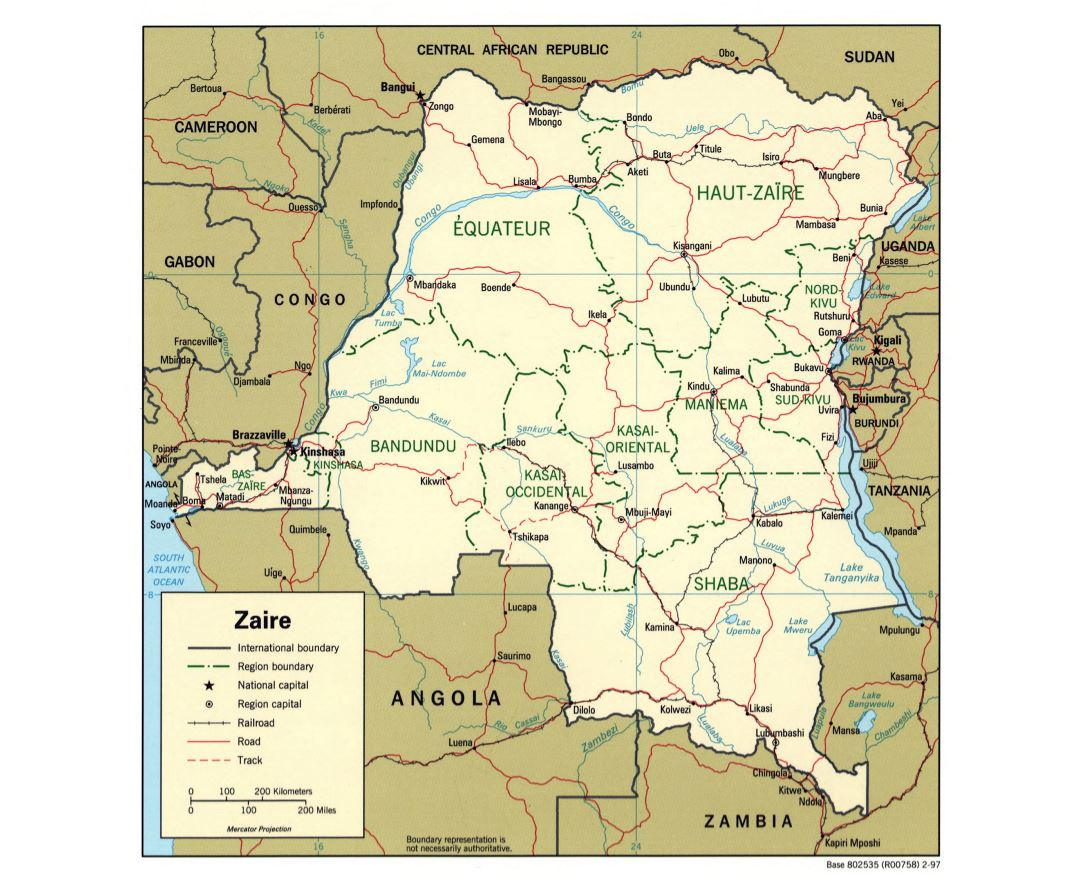 Large detailed political and administrative map of Congo Democratic Republic with roads, railroads and major cities - 1997