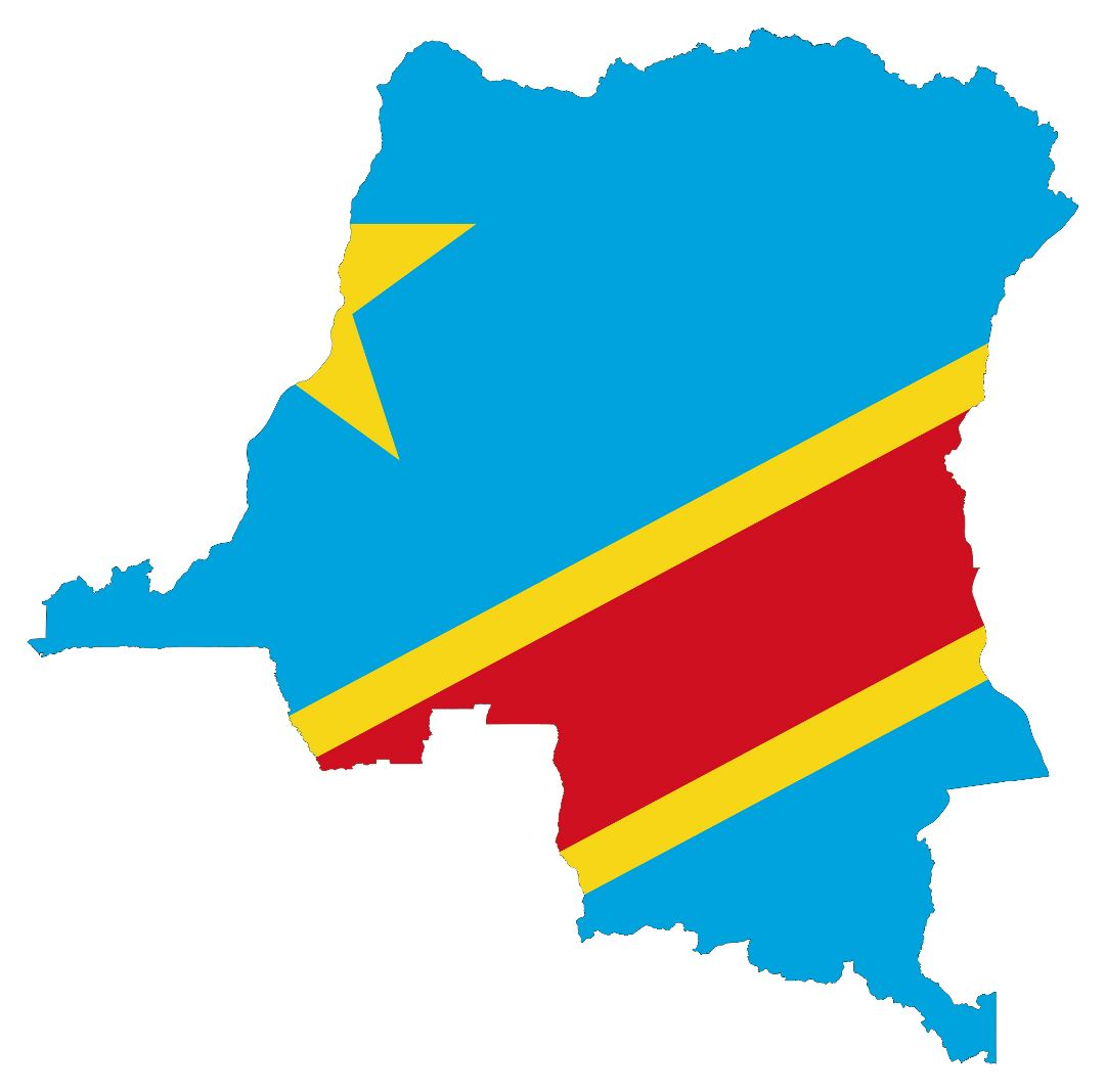 Large flag map of Congo Democratic Republic
