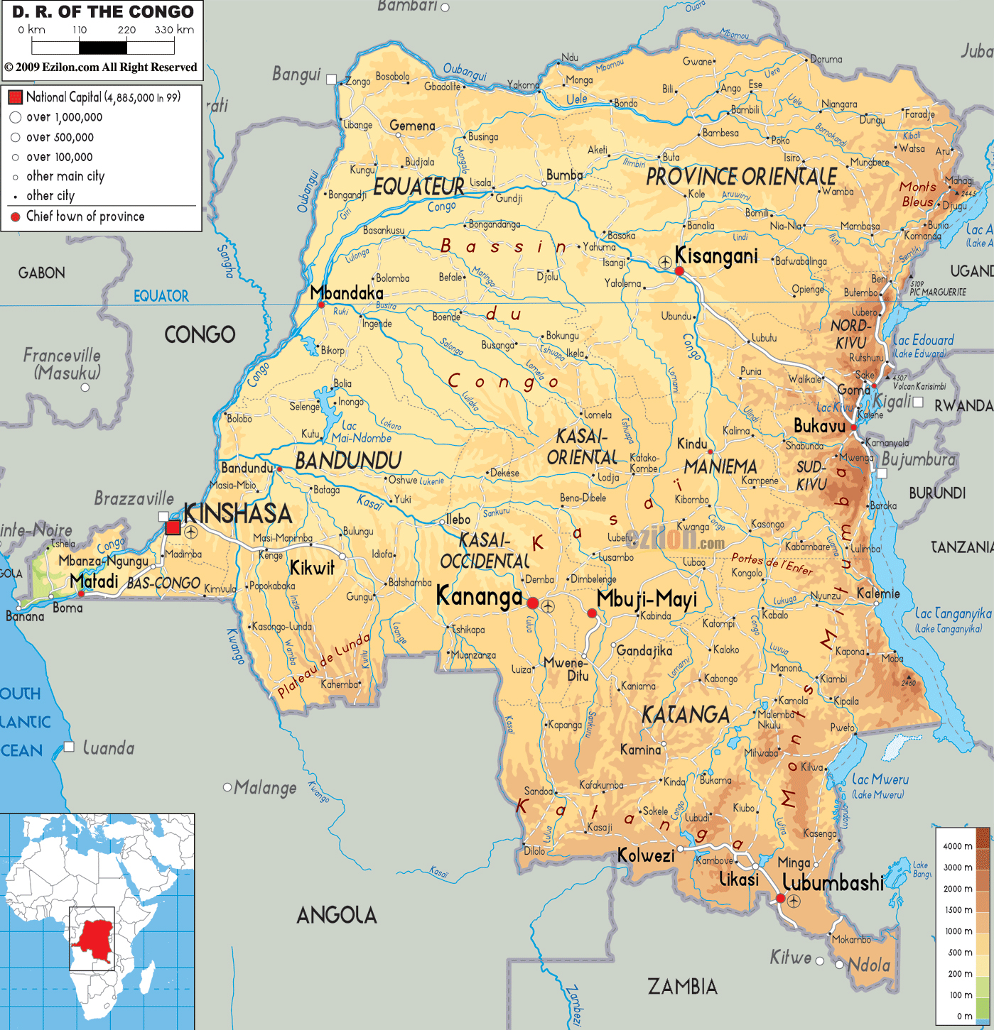 Large physical map of Congo Democratic Republic with roads cities