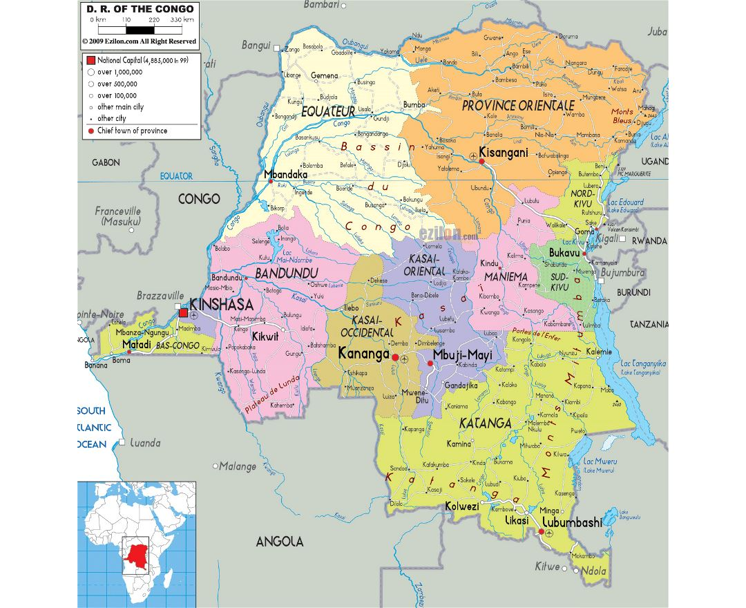 Large political and administrative map of Congo Democratic Republic with roads, cities and airports