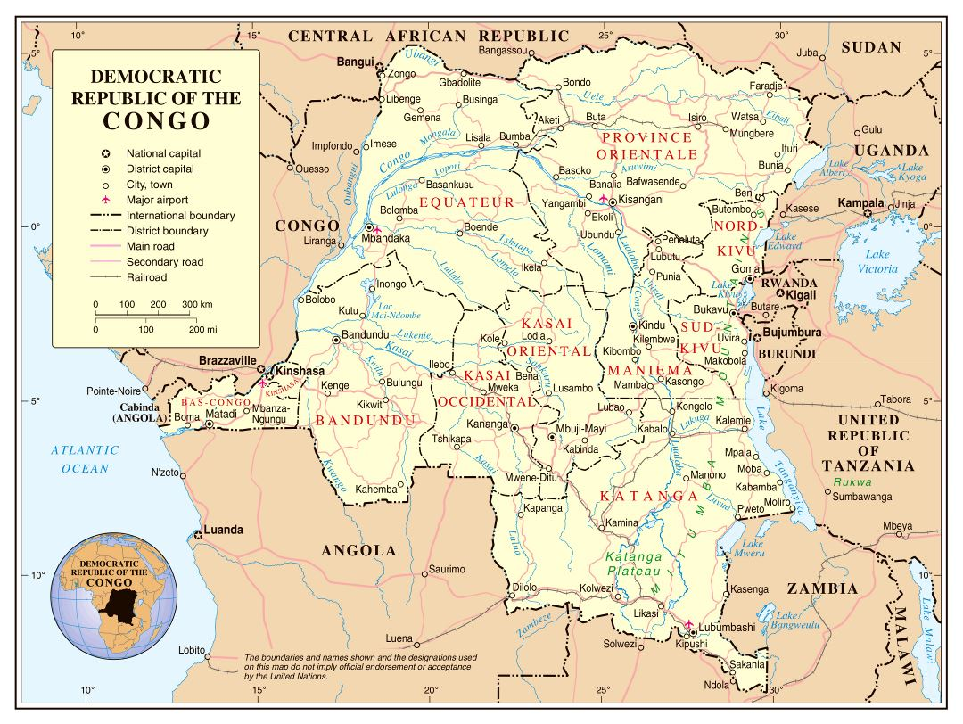 Large political and administrative map of Congo Democratic Republic with roads, railroads, cities and airports