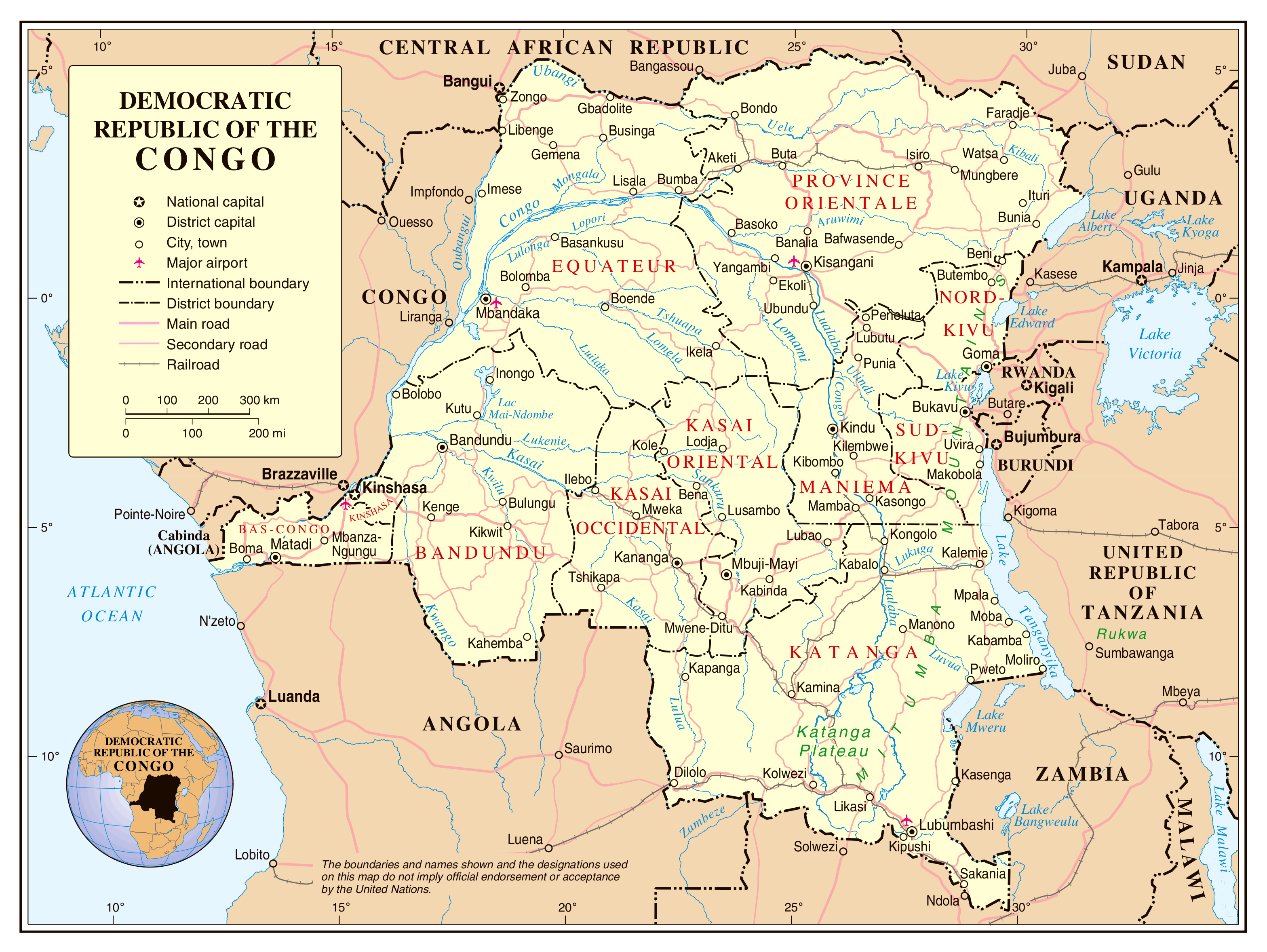 Large political and administrative map of Congo Democratic Republic