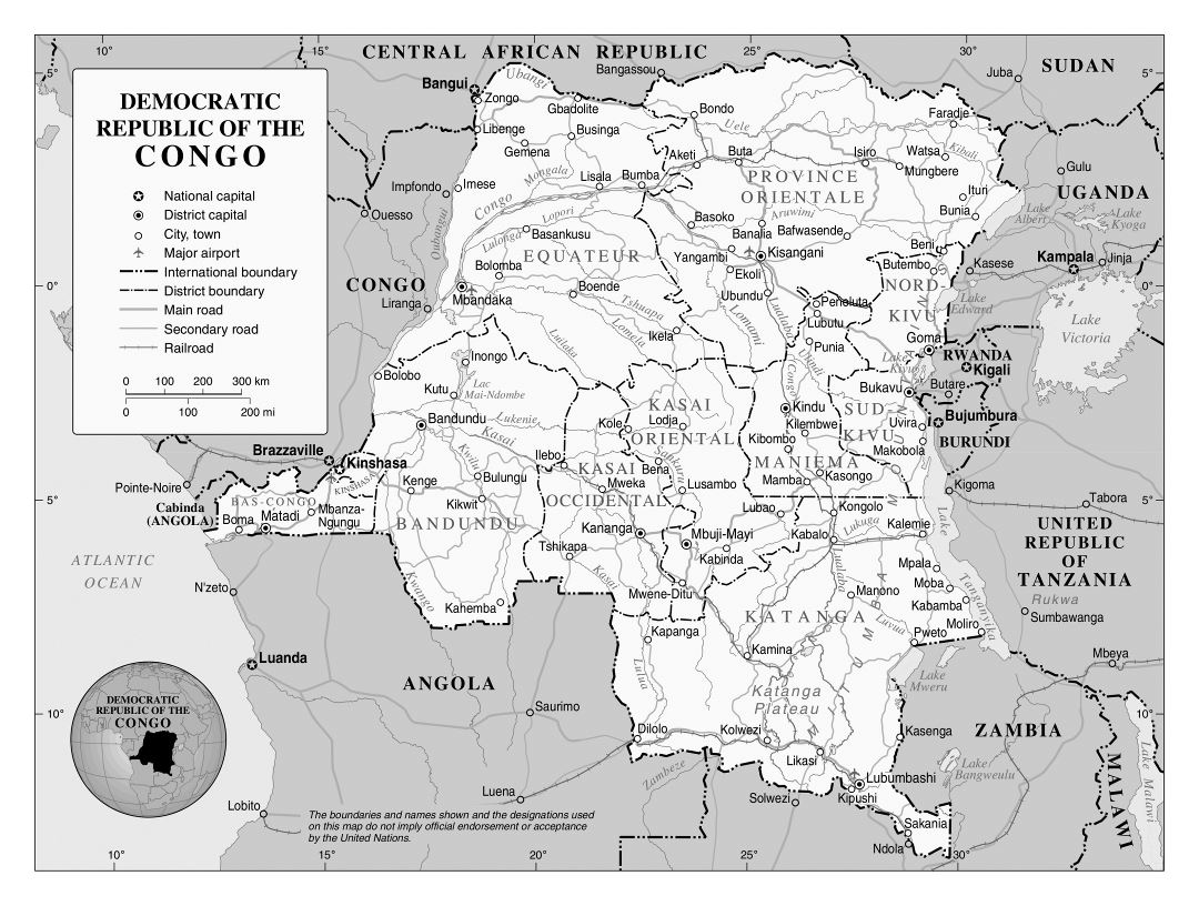Large political and administrative map of Congo Democratic Republic with roads, railroads, major cities and airports