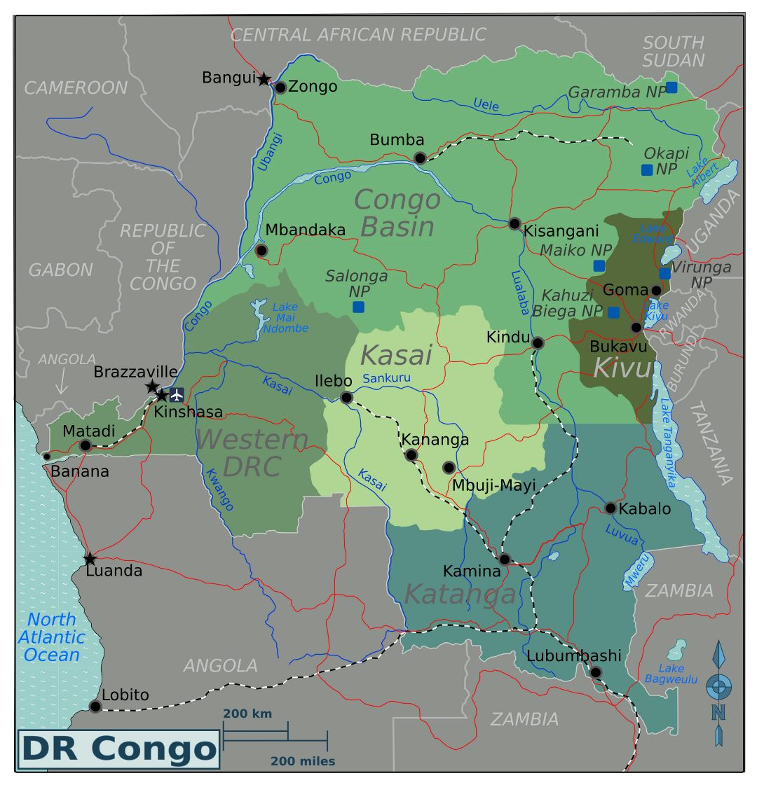 Large regions map of Congo Democratic Republic