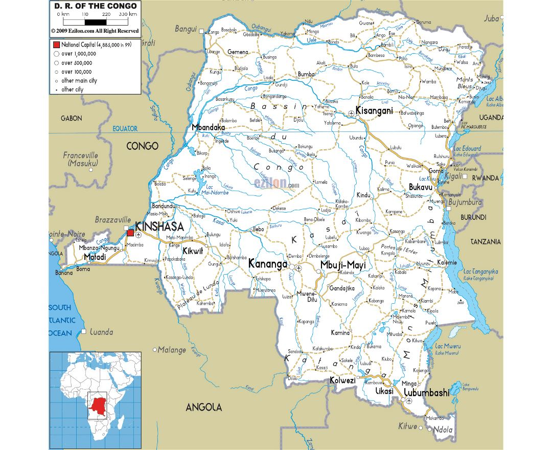 Maps Of Congo Democratic Republic Detailed Map Of Congo - Angola road map