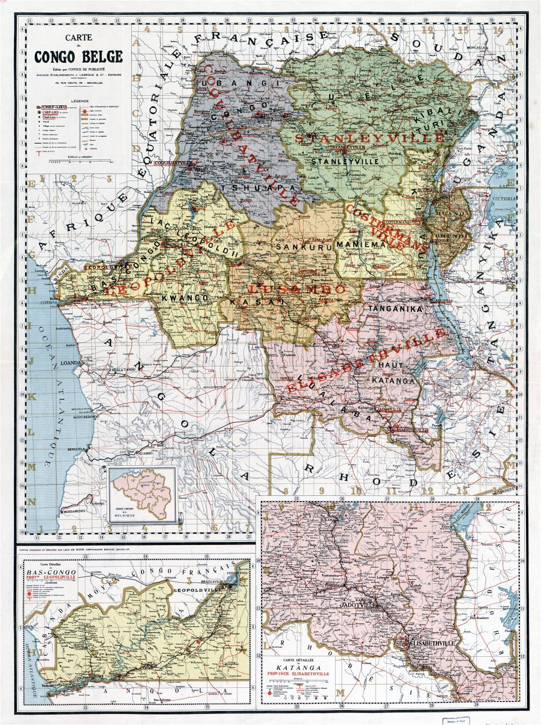 Large scale old political and administrative map of Congo Democratic Republic with other marks - 1896