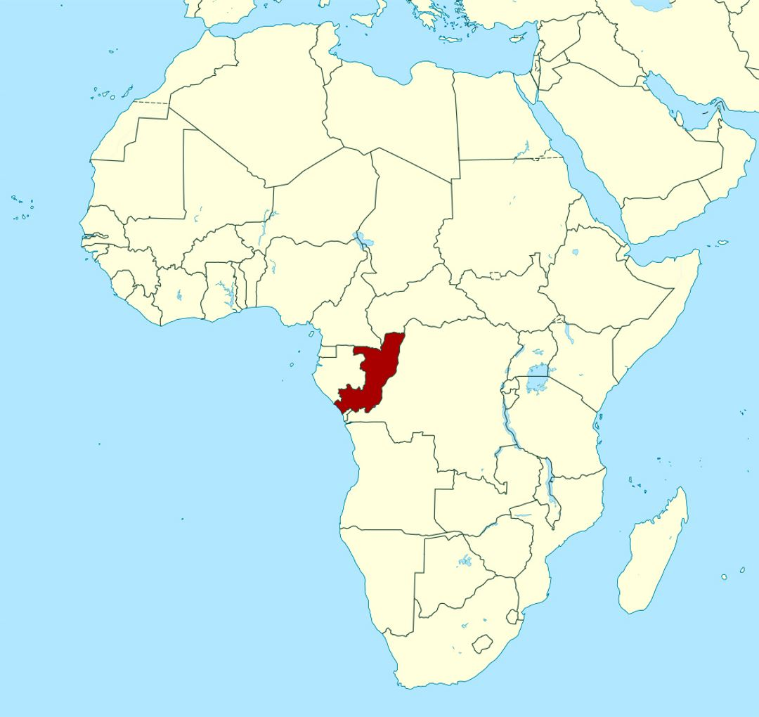 Detailed location map of Congo in Africa
