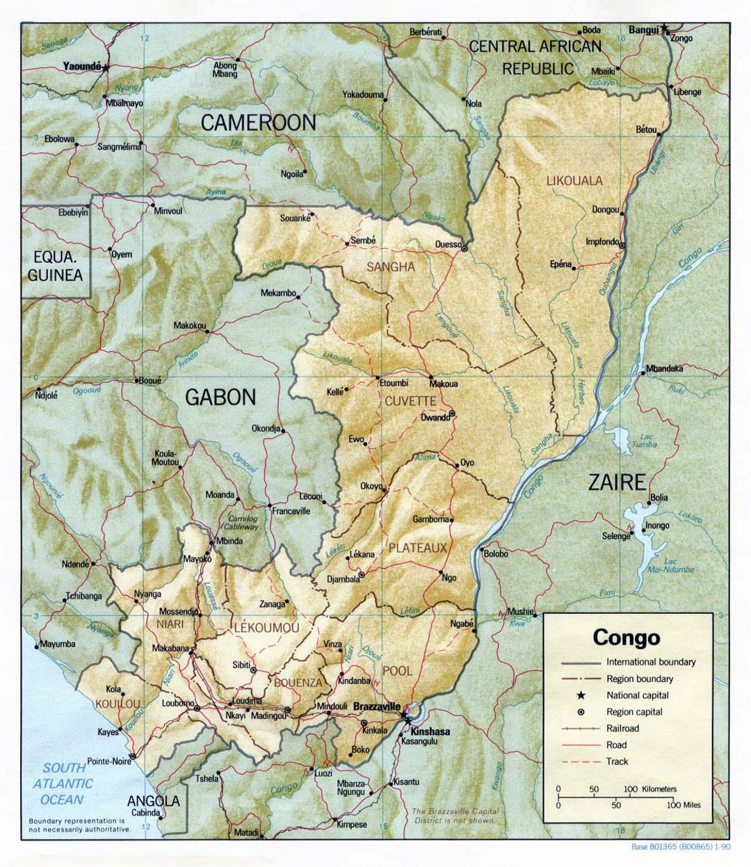 Detailed political and administrative map of Congo with relief, roads, railroads and major cities - 1990