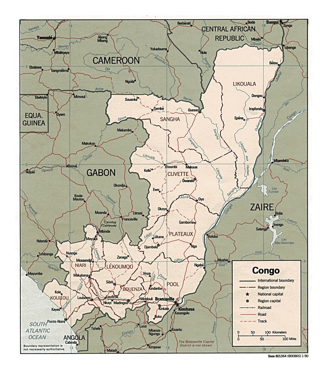 Detailed political and administrative map of Congo with roads, railroads and major cities - 1990