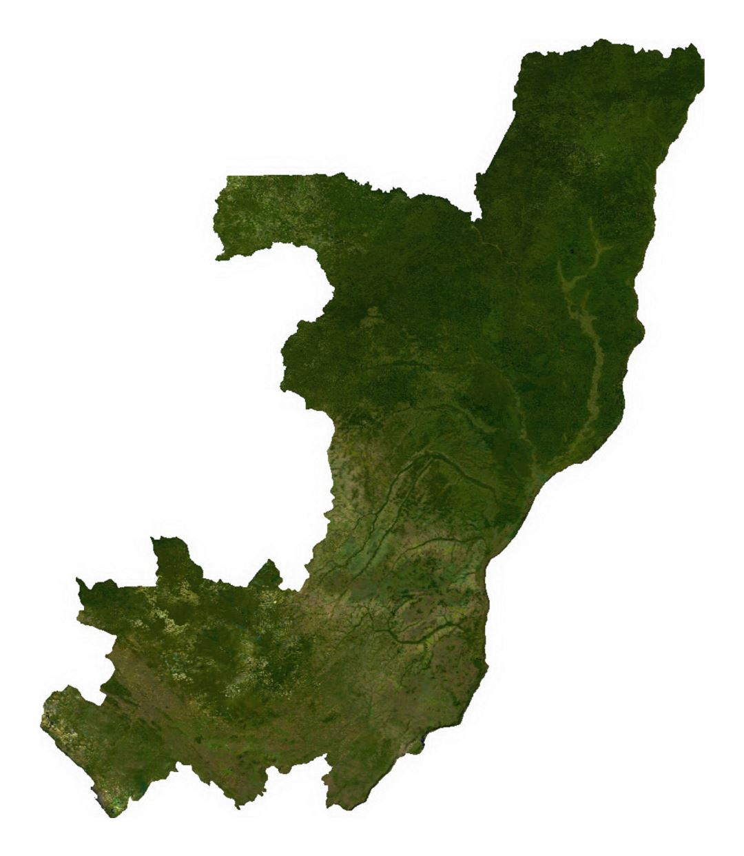 Detailed satellite map of Congo