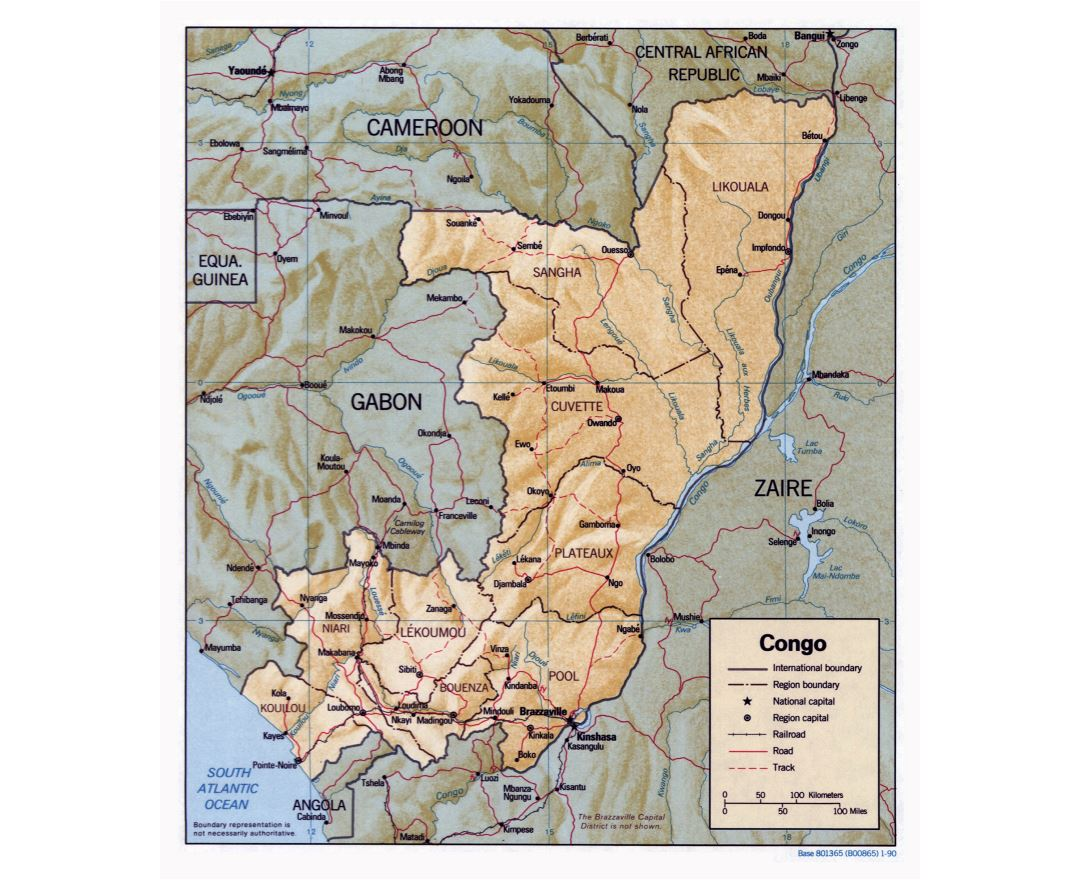 Large detailed political and administrative map of Congo with relief, roads, railroads and major cities - 1990