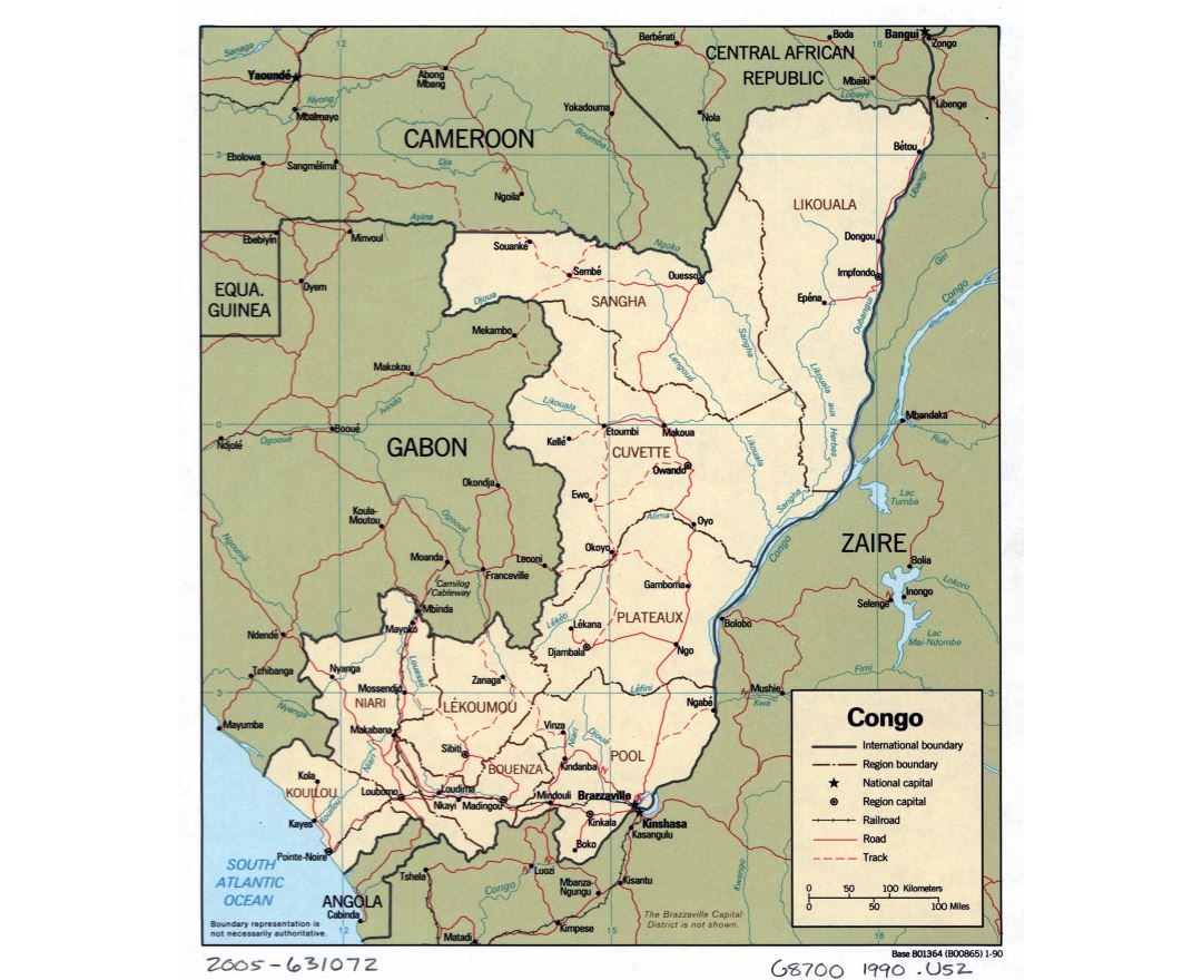 Large detailed political and administrative map of Congo with roads, railroads and major cities - 1990