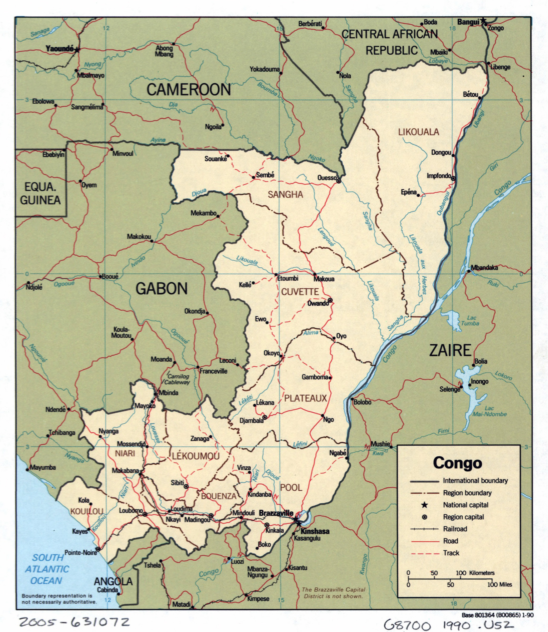 Large detailed political and administrative map of Congo with