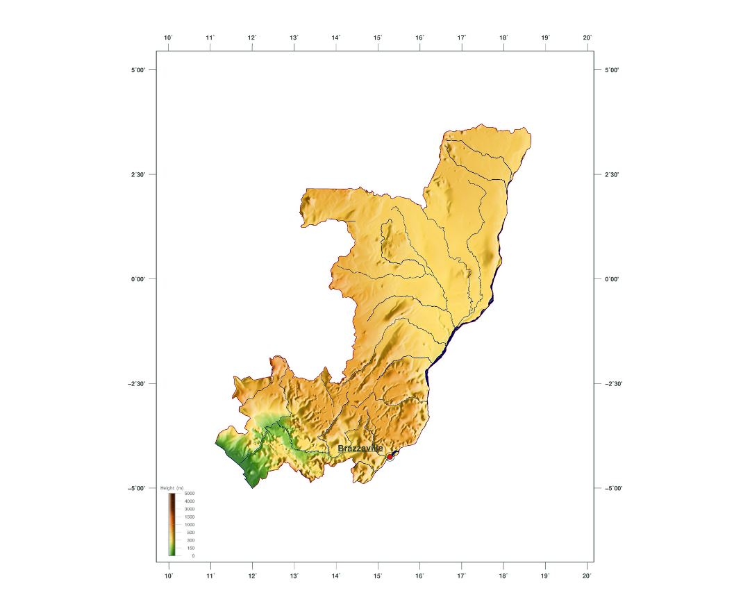 Large elevation map of Congo