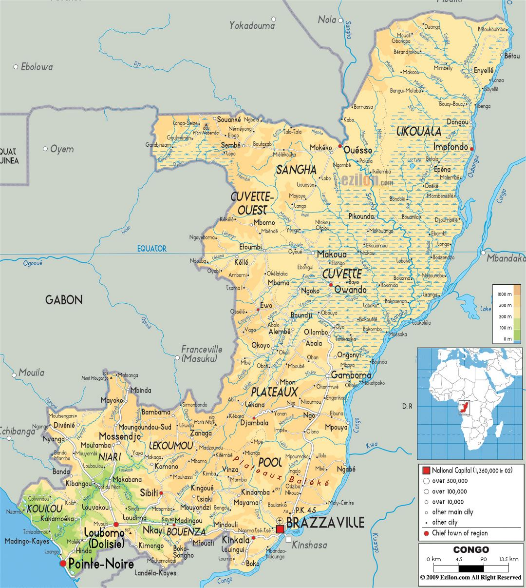 Large physical map of Congo with roads, cities and airports