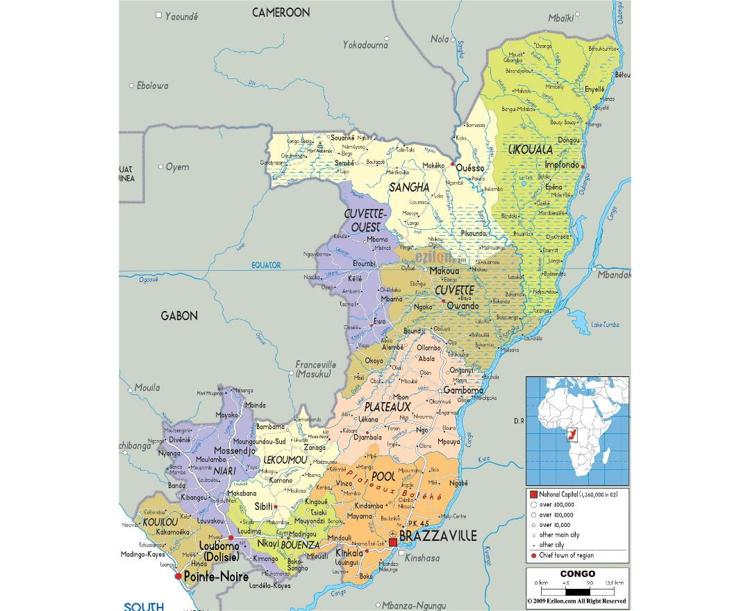 Large political and administrative map of Congo with roads, cities and airports