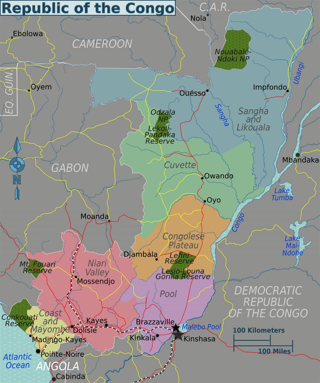 Large regions map of Congo