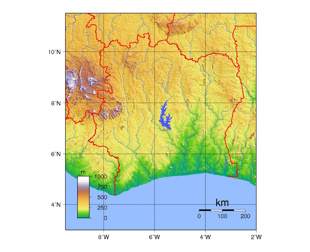 Detailed physical map of Ivory Coast