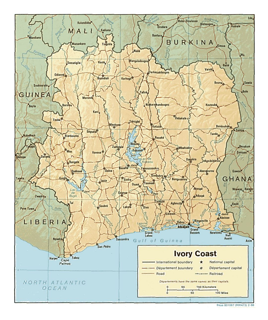Detailed political and administrative map of Cote d'Ivoire with relief, roads, railroads and major cities - 1988