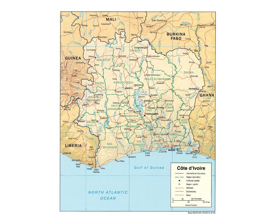Detailed political and administrative map of Cote d'Ivoire with relief, roads, railroads and major cities - 2004