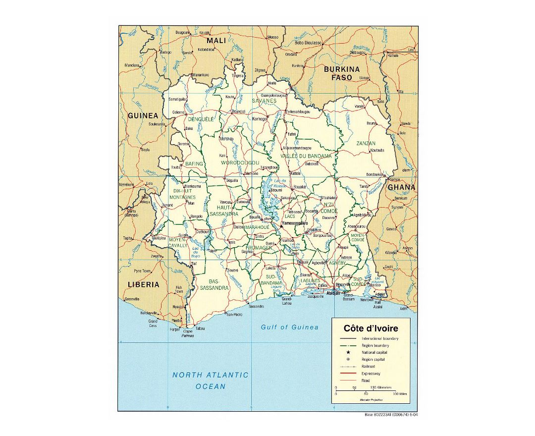 Detailed political and administrative map of Cote d'Ivoire with roads, railroads and major cities - 2004