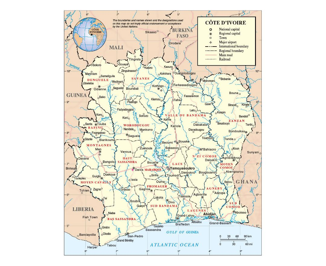 Detailed political and administrative map of Ivory Coast with roads, railroads, cities and airports
