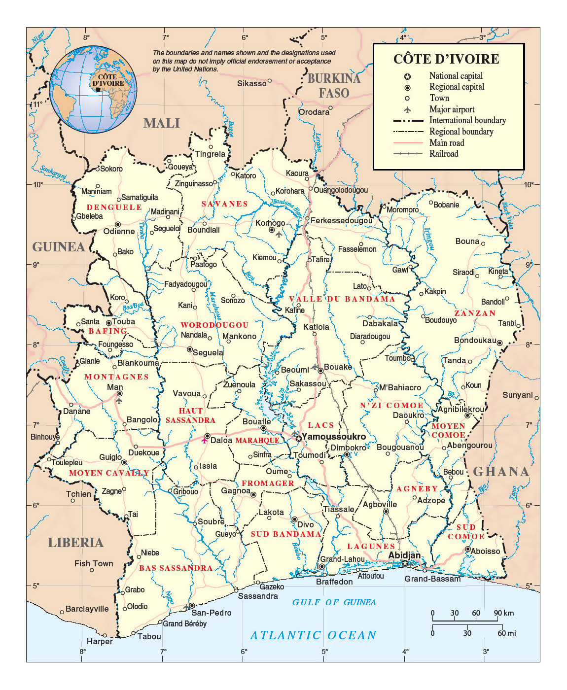 Detailed Political And Administrative Map Of Ivory Coast With - Ivory coast map of africa