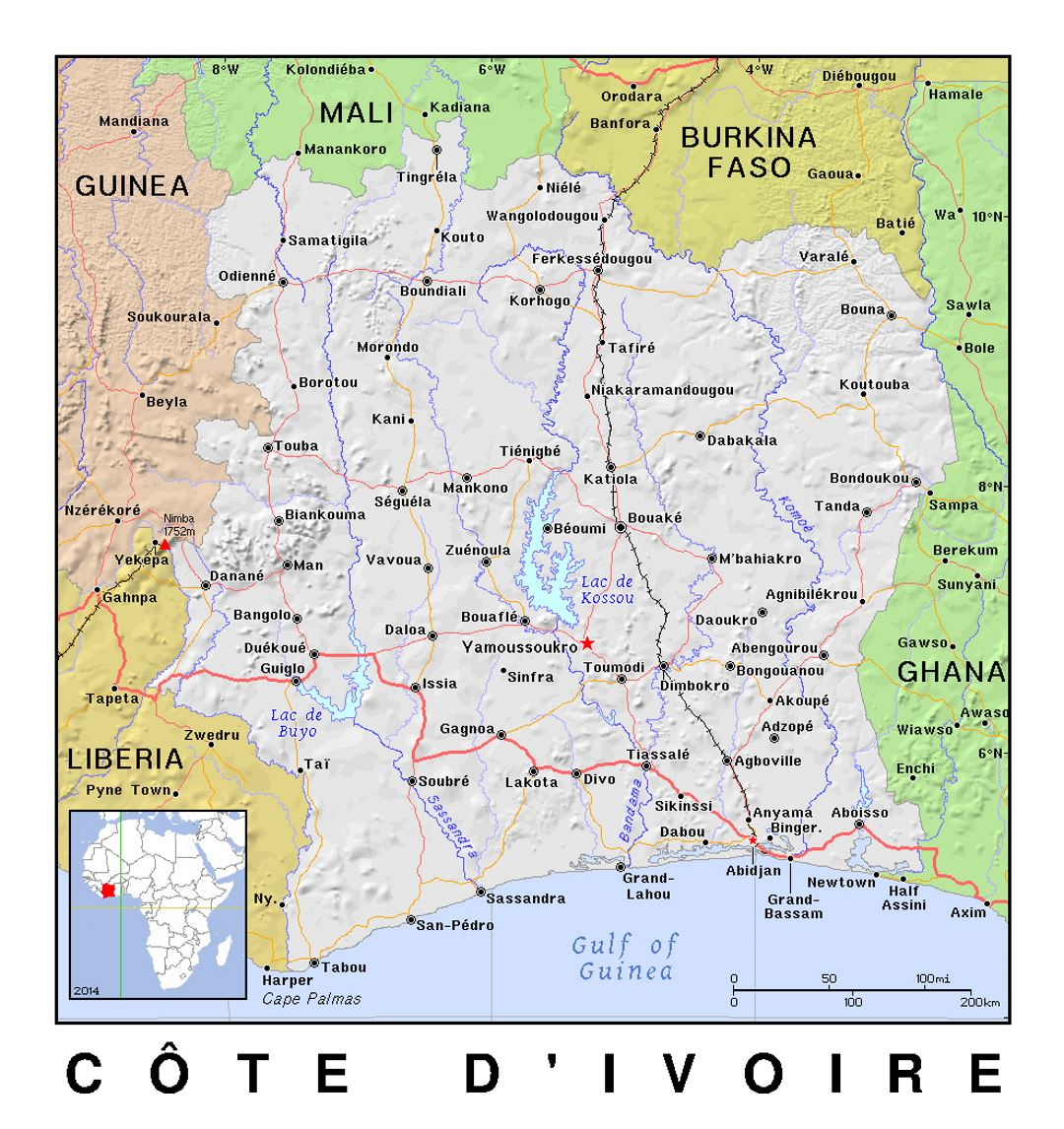 Detailed political map of Cote d'Ivoire with relief