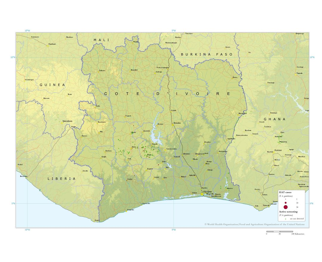 Large detailed map of Cote d'Ivoire