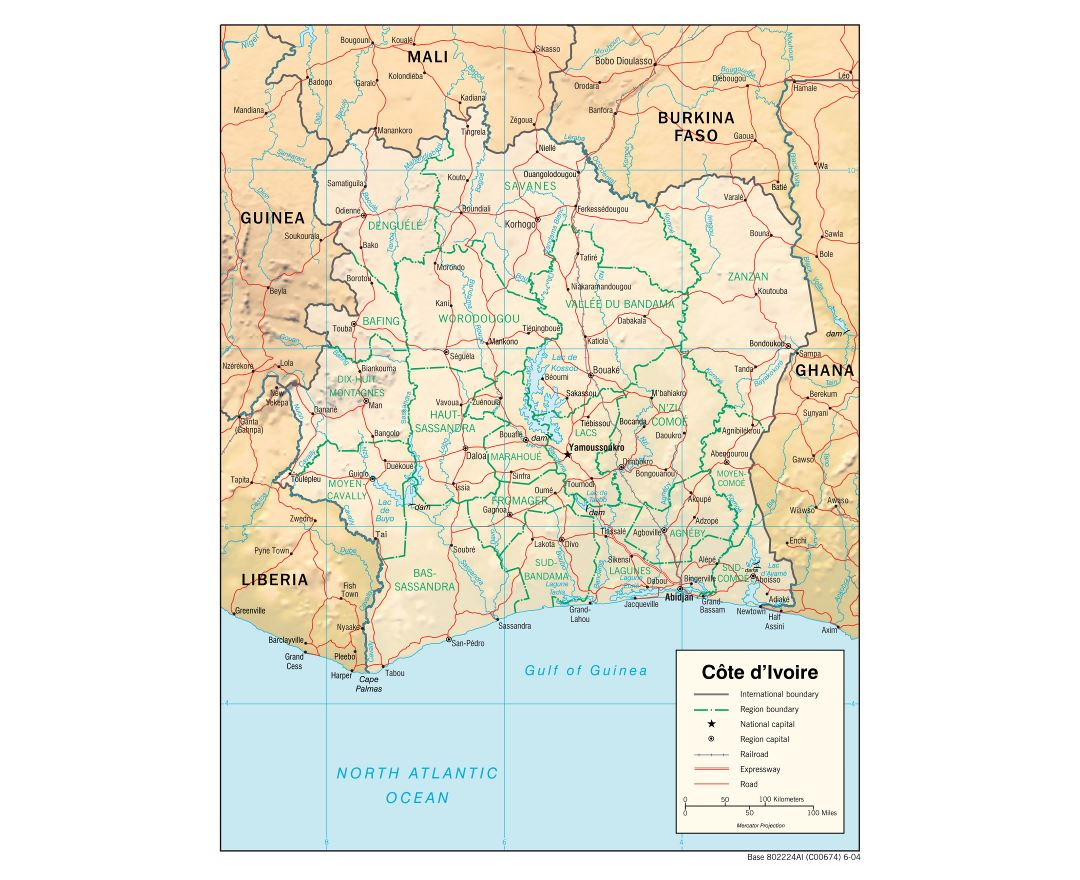 Large detailed political and administrative map of Cote d'Ivoire with relief, roads, railroads and major cities - 2004