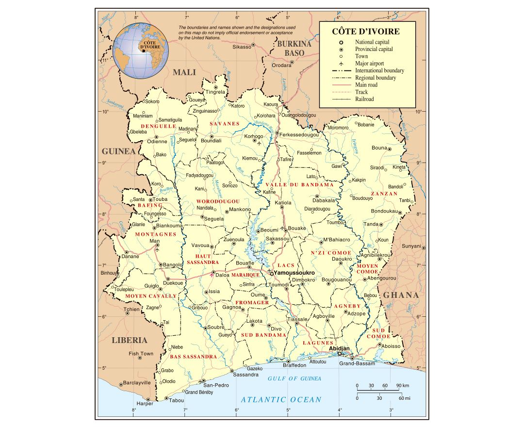 Large detailed political and administrative map of Cote d'Ivoire with roads, railroads, cities and airports