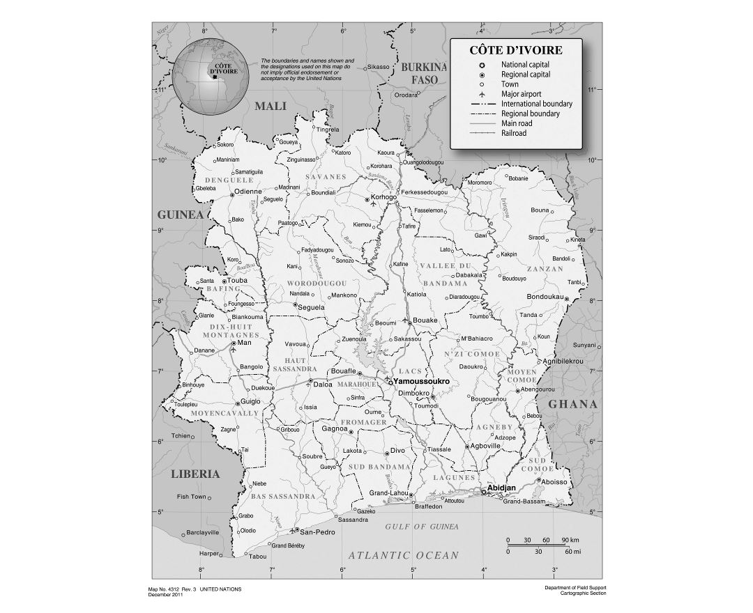 Maps of Cote dIvoire Detailed map of Cote dIvoire in English