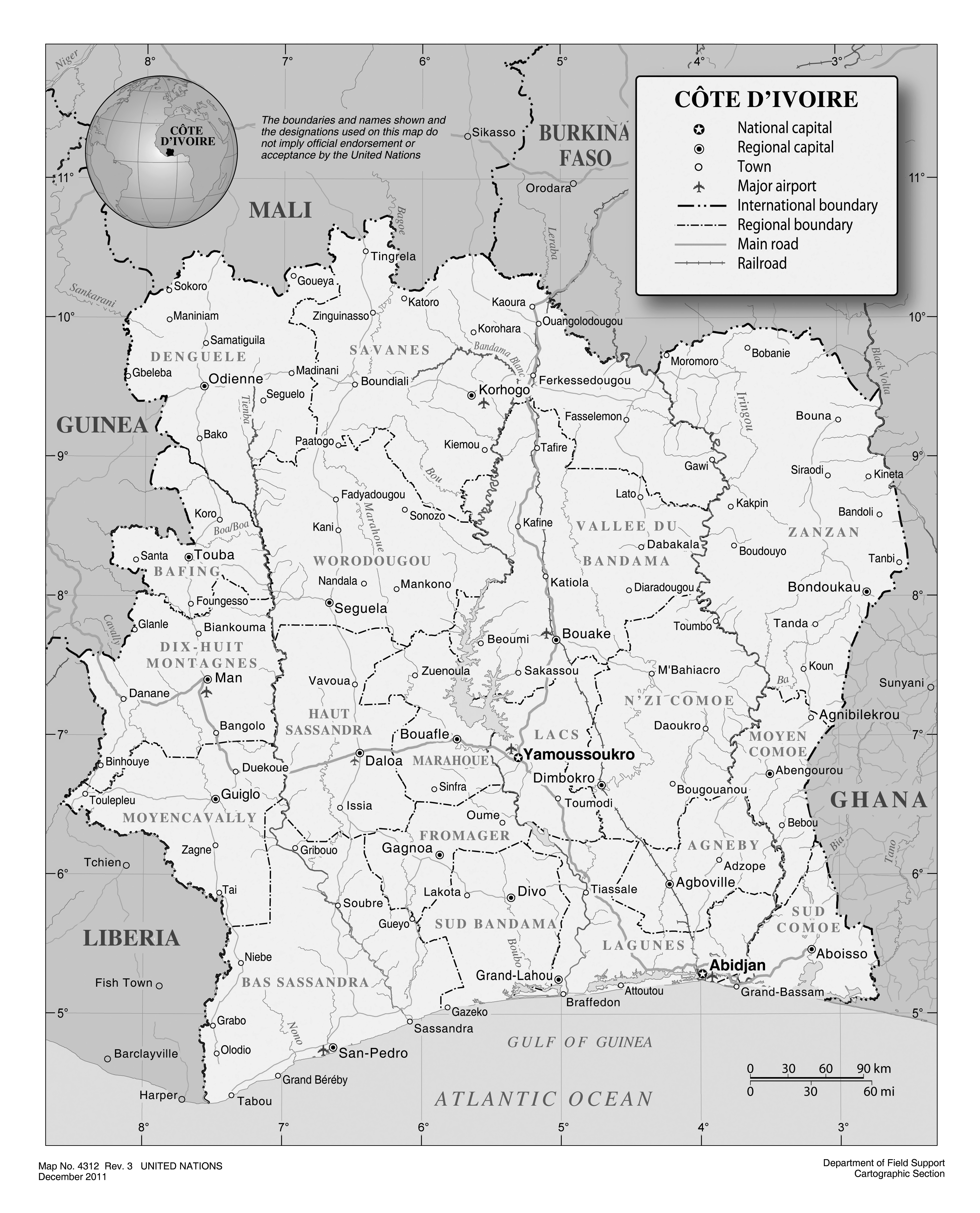 Large detailed political and administrative map of Cote dIvoire
