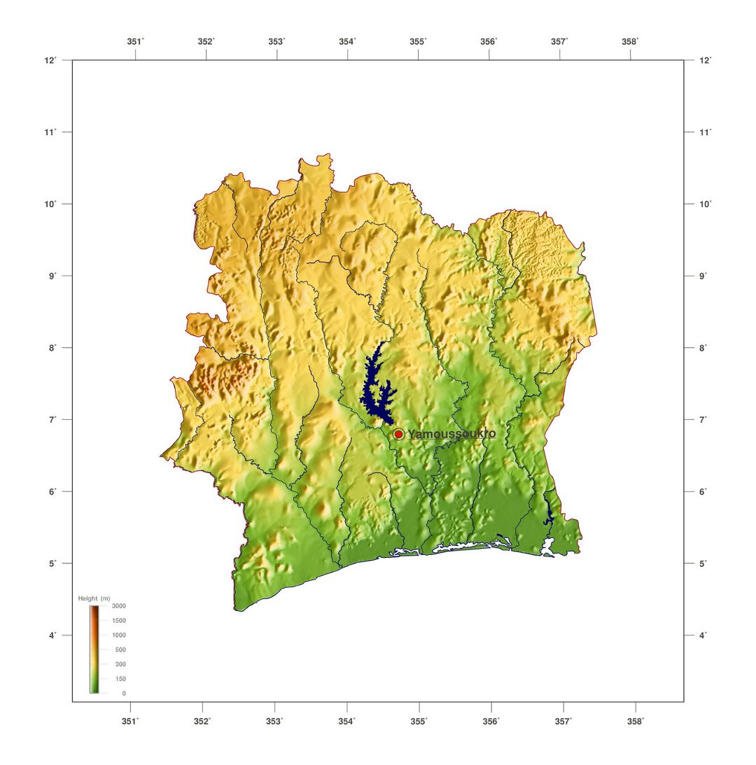 Large elevation map of Cote d'Ivoire