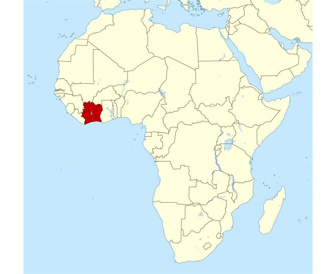 Large location map of Cote d'Ivoire in Africa