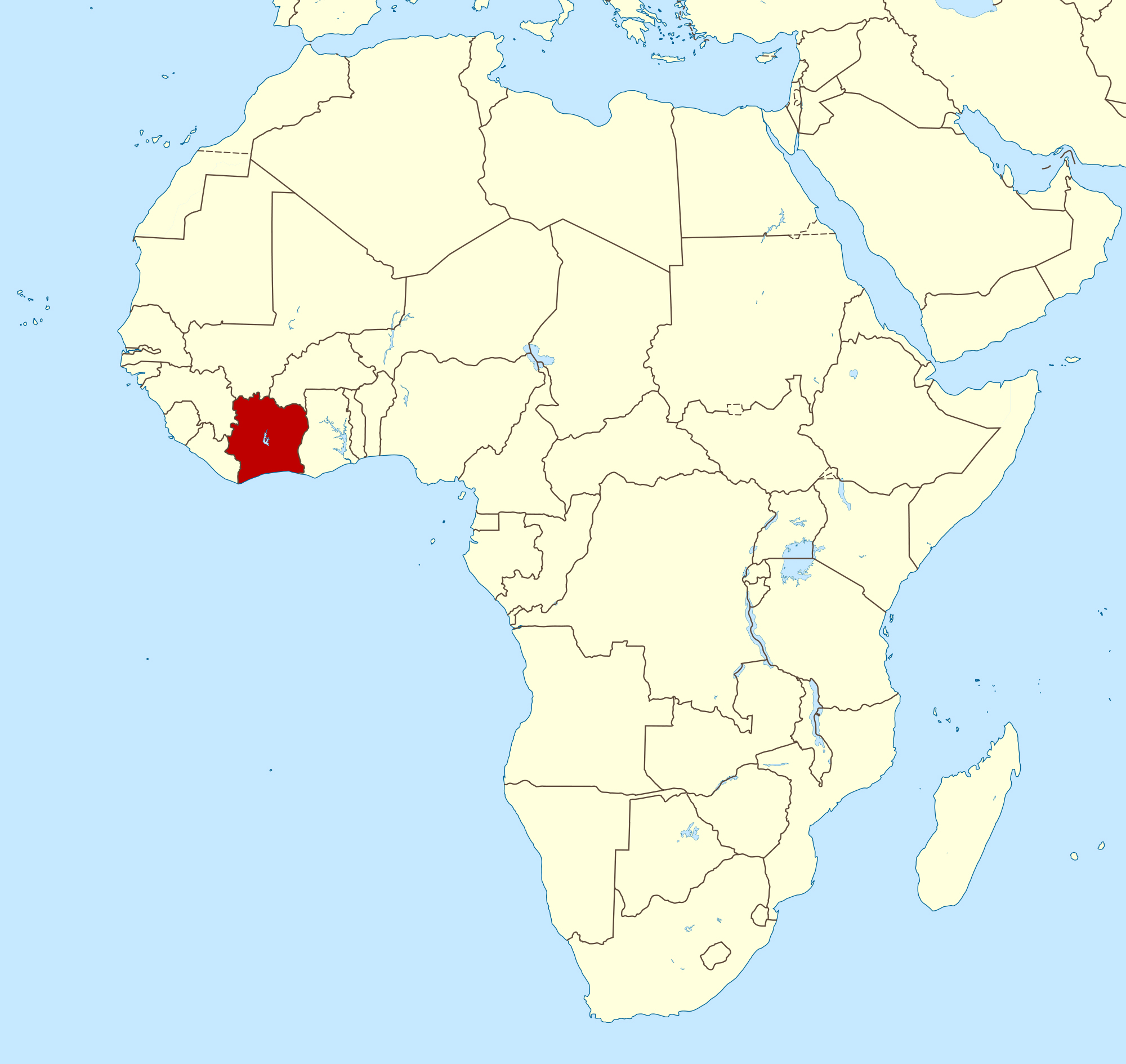 Large location map of Cote d'Ivoire in Africa | Cote d'Ivoire