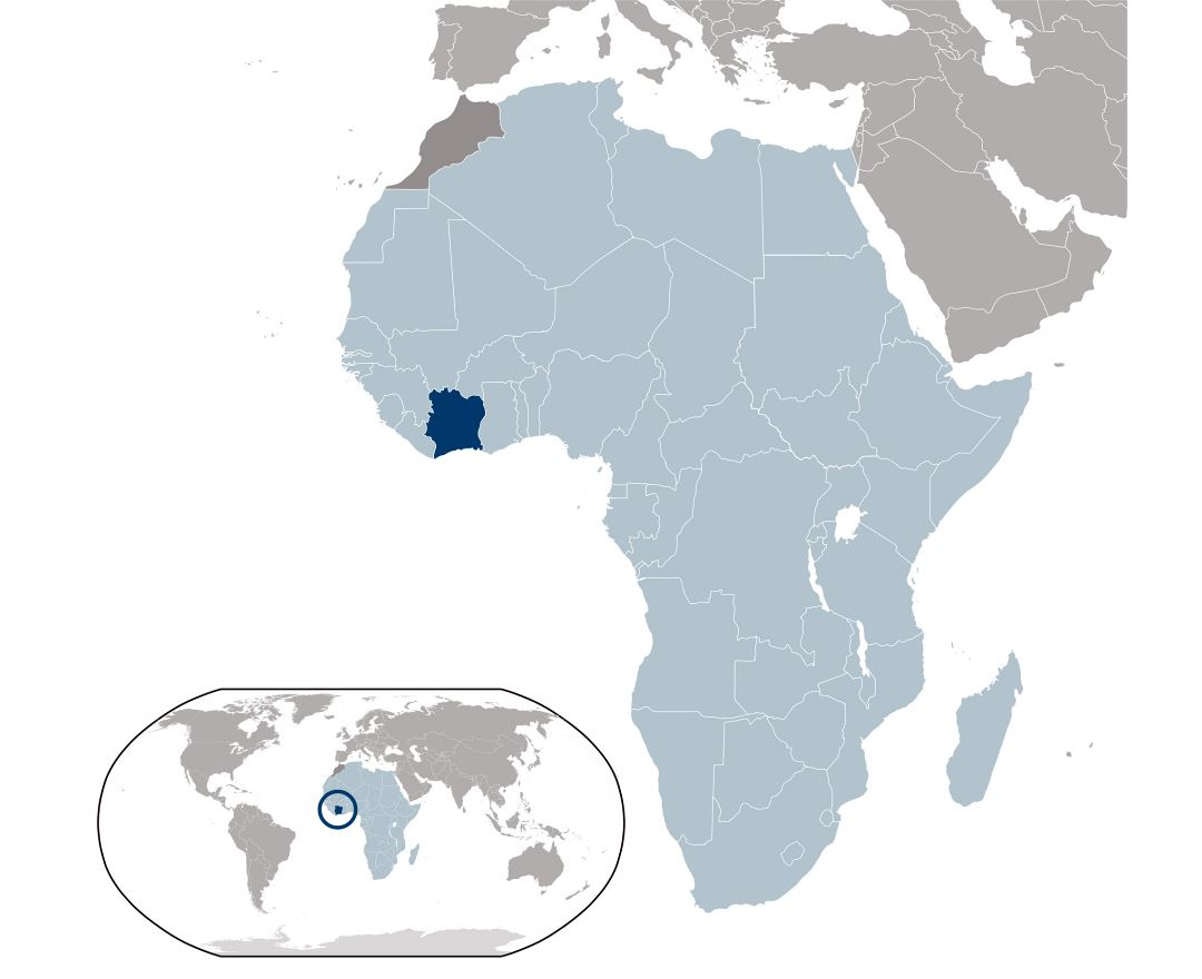 Large location map of Ivory Coast