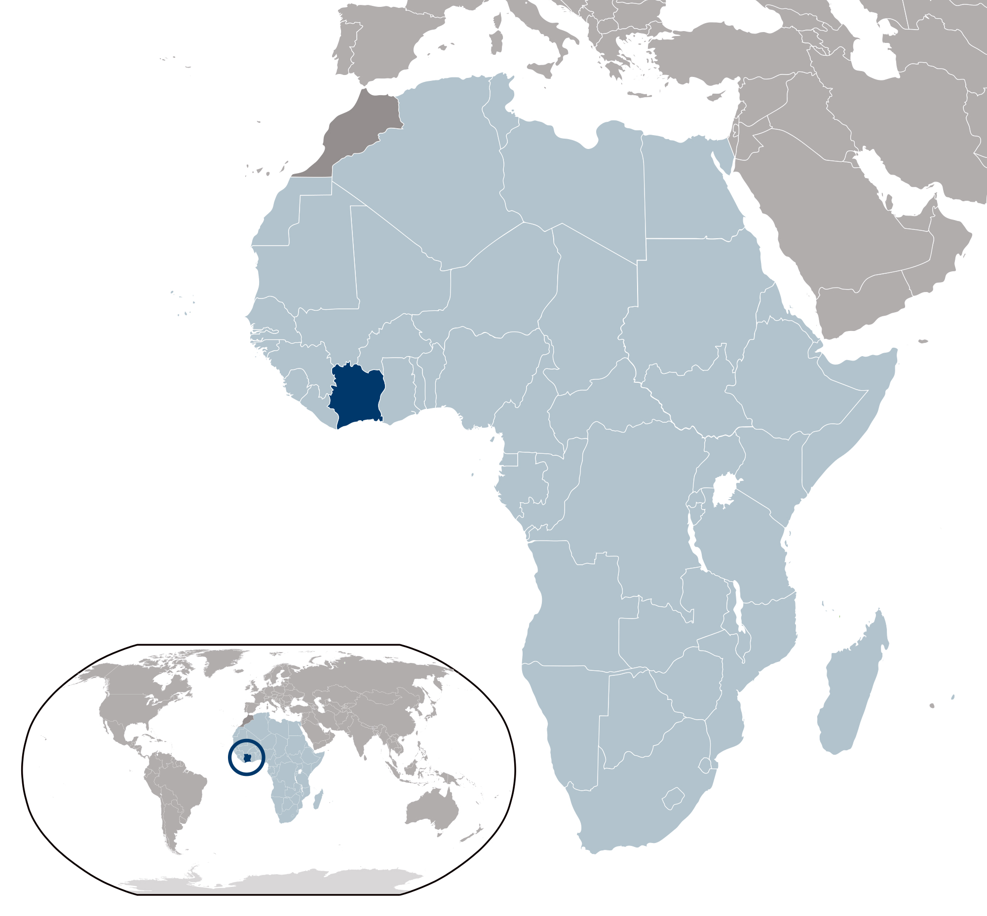 where is ivory coast on the map of africa Large Location Map Of Ivory Coast Cote D Ivoire Africa where is ivory coast on the map of africa
